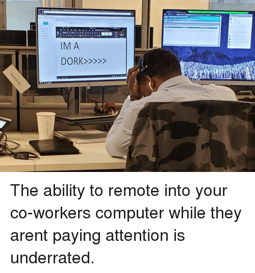 Co Workers: The ability to remote into your co-workers computer while they arent paying attention is underrated.