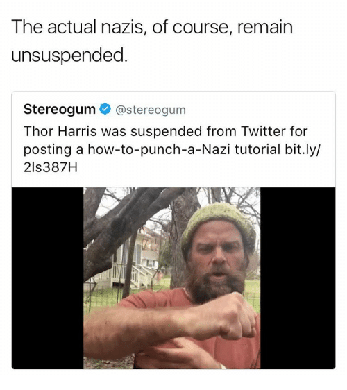 suspenders: The actual nazis, of course, remain  unsuspended  Stereogum  @stereogum  Thor Harris was suspended from Twitter for  posting a how-to-punch-a-Nazi tutorial bit.ly/  21s387H