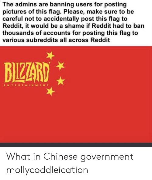 Reddit, Chinese, and Pictures: The admins are banning users for posting  pictures of this flag. Please, make sure to be  careful not to accidentally post this flag to  Reddit, it would be a shame if Reddit had to ban  thousands of accounts for posting this flag to  various subreddits all across Reddit  BIZZARD  ENTERTAINMENT What in Chinese government mollycoddleication