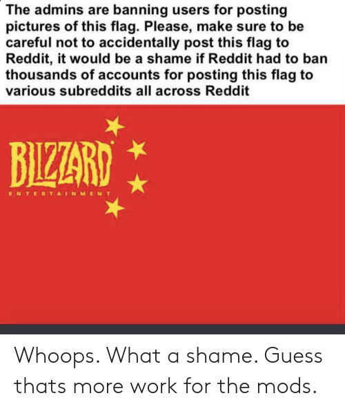 Reddit, Work, and Guess: The admins are banning users for posting  pictures of this flag. Please, make sure to be  careful not to accidentally post this flag to  Reddit, it would be a shame if Reddit had to ban  thousands of accounts for posting this flag to  various subreddits all across Reddit  BIZZARD  ENTERTAINMENT Whoops. What a shame. Guess thats more work for the mods.