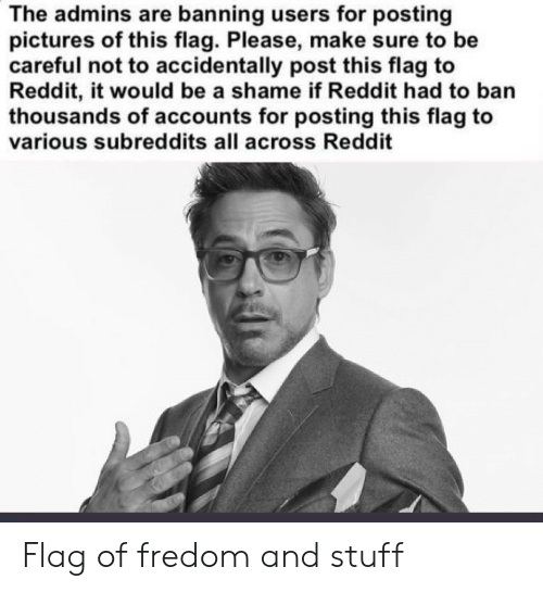 Reddit, Pictures, and Stuff: The admins are banning users for posting  pictures of this flag. Please, make sure to be  careful not to accidentally post this flag to  Reddit, it would be a shame if Reddit had to ban  thousands of accounts for posting this flag to  various subreddits all across Reddit Flag of fredom and stuff