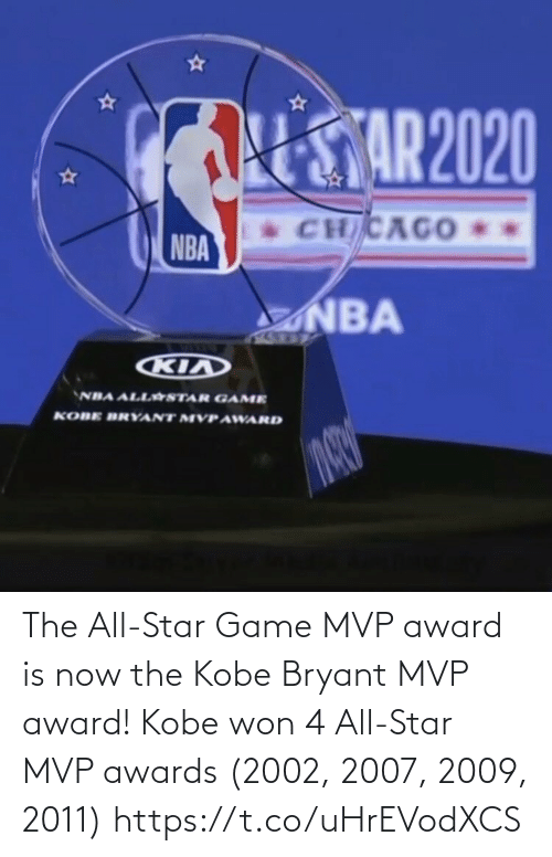 Kobe Bryant: The All-Star Game MVP award is now the Kobe Bryant MVP award!   Kobe won 4 All-Star MVP awards (2002, 2007, 2009, 2011) https://t.co/uHrEVodXCS