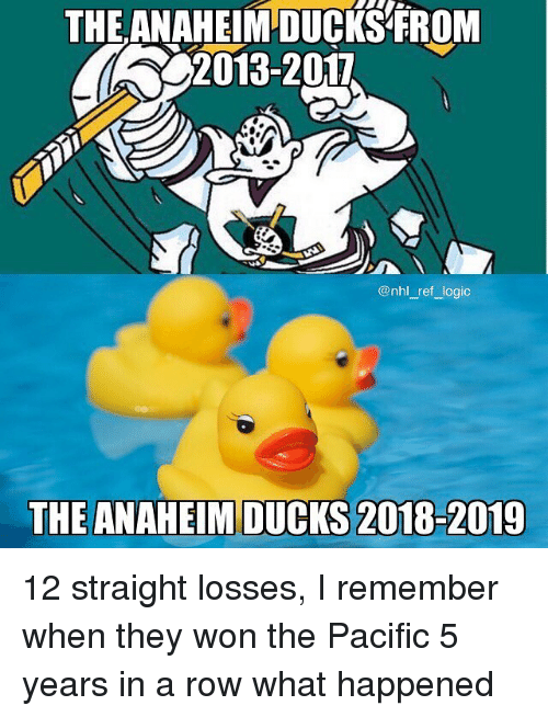 Anaheim Ducks, Logic, and Memes: THE ANAHEIM DUCKS FROM  2013-2017  @nhl_ref logic  THE ANAHEIM DUCKS 2018-2019 12 straight losses, I remember when they won the Pacific 5 years in a row what happened