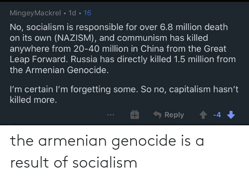 Result: the armenian genocide is a result of socialism