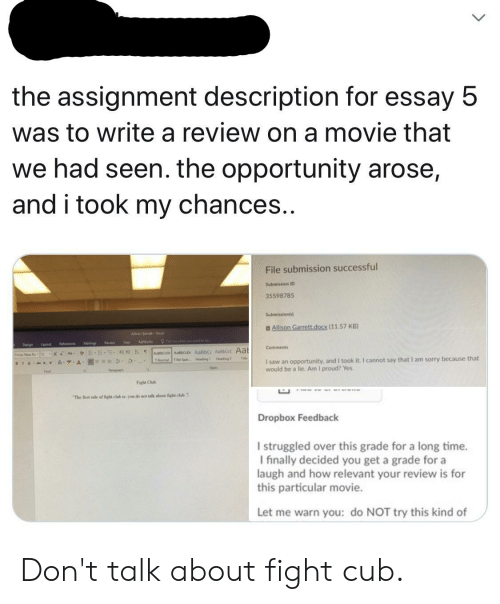The Assignment Description for Essay 5 Was to Write a Review