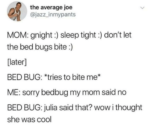 Dank, Sorry, and Wow: the average joe  @jazz_inmypants  MOM: gnight:) sleep tight :) don't let  the bed bugs bite:)  [later]  BED BUG: *tries to bite me*  ME: sorry bedbug my mom said no  BED BUG: julia said that? wow i thought  she was cool
