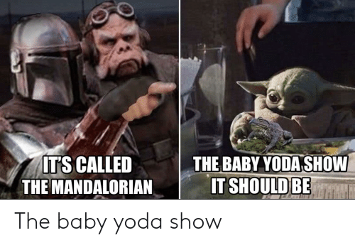 the baby: THE BABY YODA SHOW  IT SHOULD BE  ITS CALLED  THE MANDALORIAN The baby yoda show