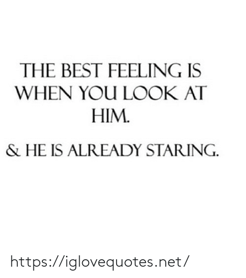 The Best Feeling: THE BEST FEELING IS  WHEN YOU LOOK AT  HIM.  & HE IS ALREADY STARING. https://iglovequotes.net/