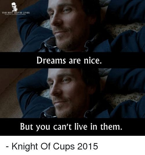 Memes, 🤖, and Knights: THE BEST MOVIE LINES  Dreams are nice.  But you can't live in them - Knight Of Cups 2015