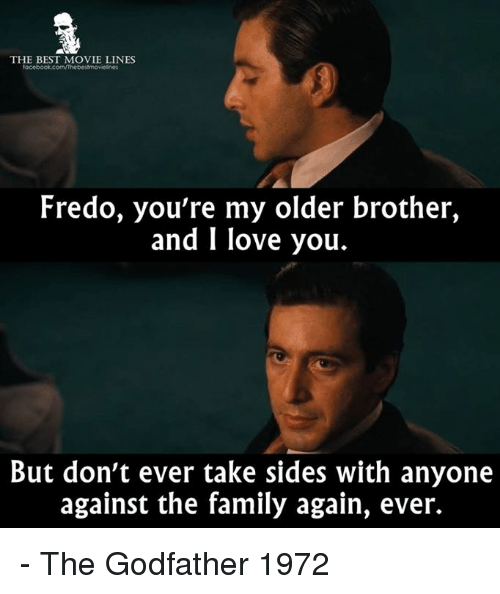 movie line: THE BEST MOVIE LINES  Fredo, you're my older brother,  and I love you.  But don't ever take sides with anyone  against the family again, ever. - The Godfather 1972