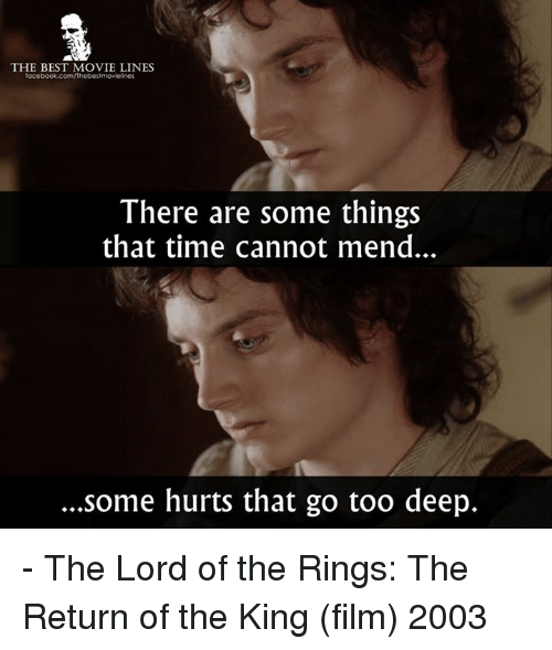 return of the king: THE BEST MOVIE LINES  There are some things  that time cannot mend.  ...some hurts that go too deep. - The Lord of the Rings: The Return of the King (film) 2003