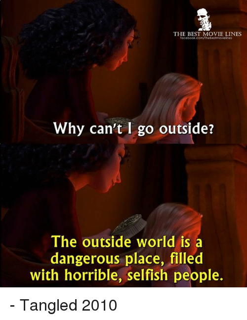 Memes, Tangled, and 🤖: THE BEST MOVIE LINES  Why can't I go outside?  The outside world is a  dangerous place, filled  with horrible, selfish people. - Tangled 2010