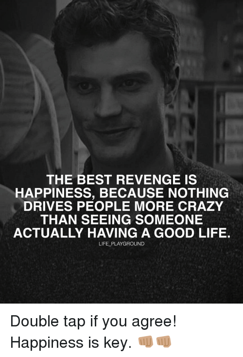 revengeance: THE BEST REVENGE IS  HAPPINESS, BECAUSE NOTHING  DRIVES PEOPLE MORE CRAZY  THAN SEEING SOMEONE  ACTUALLY HAVING A GOOD LIFE.  LIFE PLAYGROUND Double tap if you agree! Happiness is key. 👊🏽👊🏽