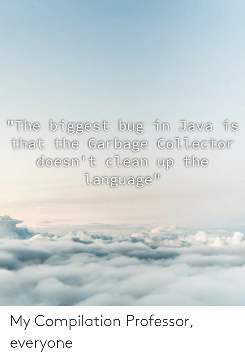 "garbage: ""The biggest bug in Java is  that the Garbage Collector  doesn't clean up the  language"" My Compilation Professor, everyone"