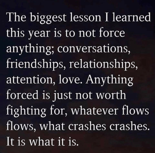 What It Is: The biggest lesson I learned  this year is to not force  anything; conversations,  friendships, relationships,  attention, love. Anything  forced is just not worth  fighting for, whatever flows  flows, what crashes crashes.  It is what it is.
