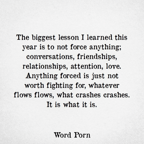 Love, Relationships, and Porn: The biggest lesson I learned this  year is to not force anything;  conversations, friendships,  relationships, attention, love.  Anything forced is just not  worth fighting for, whatever  flows flows, what crashes crashes.  It is what it is.  Word Porn