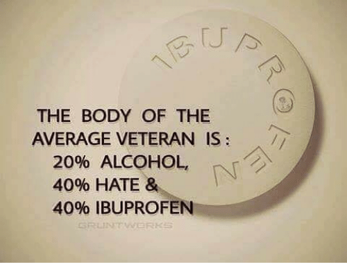 Memes, Alcohol, and 🤖: THE BODY OF THE  AVERAGE VETERAN IS  20% ALCOHOL,  40% HATE &  40% IBUPROFEN