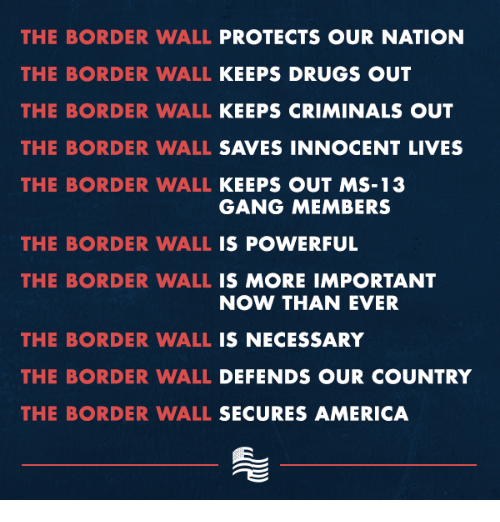 America, Drugs, and Gang: THE BORDER WALL PROTECTS OUR NATION  THE BORDER WALL KEEPS DRUGS OUT  THE BORDER WALL KEEPS CRIMINALS OUT  THE BORDER WALL SAVES INNOCENT LIVES  THE BORDER WALL KEEPS OUT MS-13  GANG MEMBERS  THE BORDER WALL IS POWERFUL  THE BORDER WALL IS MORE IMPORTANT  NOW THAN EVER  THE BORDER WALL IS NECESSARY  THE BORDER WALL DEFENDS OUR COUNTRY  THE BORDER WALL SECURES AMERICA