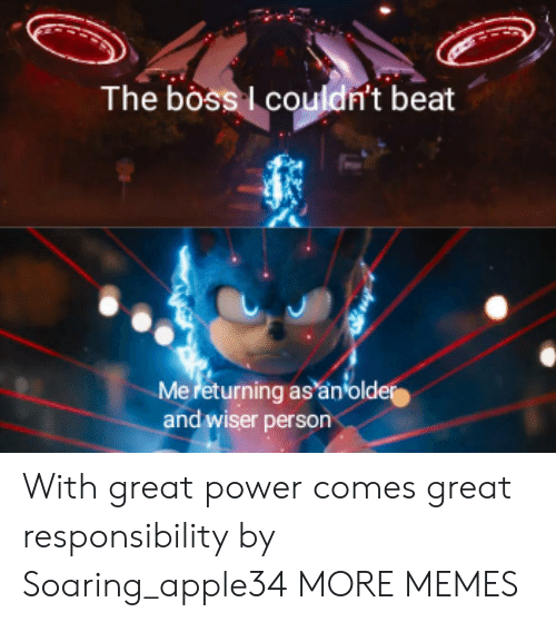 Responsibility: The boss couldn't beat  Mereturning as an older  and wiser person With great power comes great responsibility by Soaring_apple34 MORE MEMES