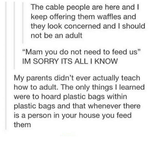 "Parents, Sorry, and House: The cable people are here and I  keep offering them waffles and  they look concerned and I should  not be an adult  ""Mam you do not need to feed us""  IM SORRY ITS ALL I KNOW  My parents didn't ever actually teach  how to adult. The only things I learned  were to hoard plastic bags within  plastic bags and that whenever there  is a person in your house you feed  them"