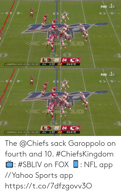 fox: The @Chiefs sack Garoppolo on fourth and 10. #ChiefsKingdom  📺: #SBLIV on FOX 📱: NFL app // Yahoo Sports app https://t.co/7dfzgovv3O