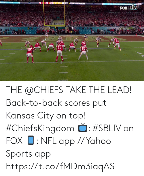 fox: THE @CHIEFS TAKE THE LEAD!  Back-to-back scores put Kansas City on top! #ChiefsKingdom  📺: #SBLIV on FOX 📱: NFL app // Yahoo Sports app https://t.co/fMDm3iaqAS