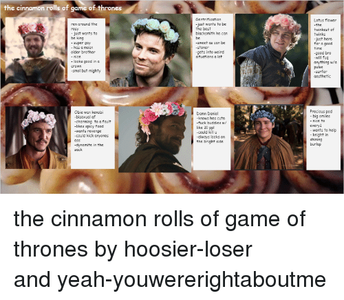 lotus flower: the cinnamon rolls of game of thrones  Sentrification  Lotus flower  the  twinkest of  twinks  just here  for a good  time  -good bro  -will fuq  anything wa  pulse  -surfer  aesthetic  ren around the  rosy  -just wants to be  the best  just wants to  blacksmith he car  be king  sweet as can be  -stoner  -gets into weird  super gay  has a mean  older brother  - nice  situations a lot  looks good in a  crown  -smol but mighty  Obie wan kenobi  -bisexual atf  -charming to a fault  likes spicy food  -wants revenge  -could kick anyones  Precious pod  big smiles  - nice to  everyl  wants to  knight io help  Damn Daniel  knows hes cute  fuck buddies w/  like 10 ppl  -could killu  -always looks on  the bright side  shining  burlap  -dynamite in the  sack <p>the cinnamon rolls of game of thrones by<span>hoosier-loser and</span><span>yeah-youwererightaboutme</span></p>