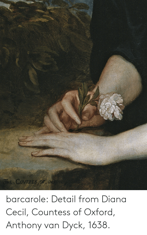diana: THE COvnreS OF Ox barcarole: Detail from Diana Cecil, Countess of Oxford, Anthony van Dyck, 1638.
