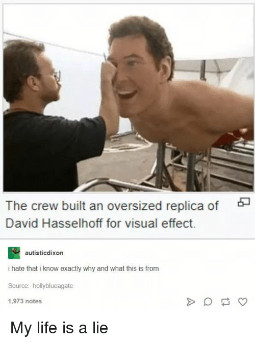 My Life Is A: The crew built an oversized replica of  David Hasselhoff for visual effect.  autisticdixon  i hate that i know exactly why and what this is from  Source: hollyblueagate  1,973 notes My life is a lie