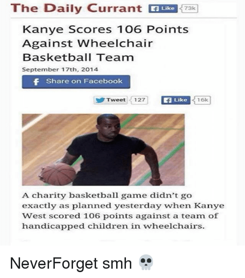 Aming: The Daily Currant EUR 73  Like  73k  Kanye Scores 106 Points  Against Wheelchair  Basketball Team  September 17th, 2014  Share on Facebook  Tweet 12  7  Like  16k  A charity basketball ame didn't go  exactly as planned yesterday when Kanye  West scored 106 points against a team of  handicapped children in wheelchairs. NeverForget smh 💀