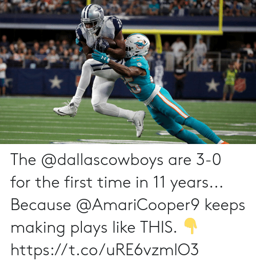 Memes, Time, and 🤖: The @dallascowboys are 3-0 for the first time in 11 years...   Because @AmariCooper9 keeps making plays like THIS. ? https://t.co/uRE6vzmlO3