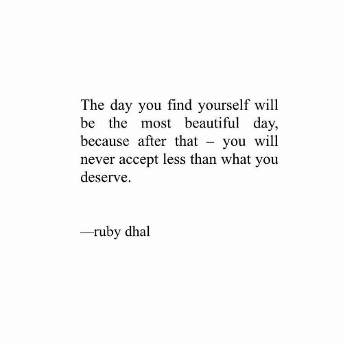 Beautiful, Never, and Ruby: The day you find yourself will  be the most beautiful day,  because after that - you will  never accept less than what you  deserve.  -ruby dhal