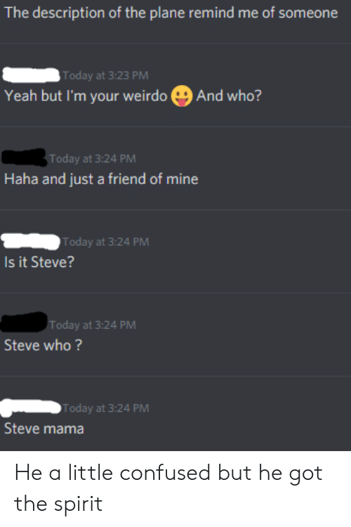 Confused, Yeah, and Spirit: The description of the plane remind me of someone  Today at 3:23 PM  Yeah but I'm your weirdo  And who?  Today at 3:24 PM  Haha and just a friend of mine  Today at 3:24 PM  Is it Steve?  Today at 3:24 PM  Steve who?  Today at 3:24 PM  Steve mama He a little confused but he got the spirit
