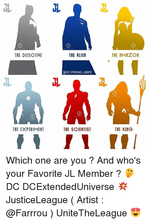 adc: THE DETECTIVE  THE EXPERIMENT  THE ALIEN  aDC.MARUEL UNITE  THE SCIENTIST  THE AMAZON  THE KING Which one are you ? And who's your Favorite JL Member ? 🤔 DC DCExtendedUniverse 💥 JusticeLeague ( Artist : @Farrrou ) UniteTheLeague 😍