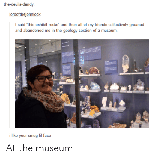 Friends, Geology, and Face: the-devils-dandy  lordofthejohnlock  of my friends collectively groaned  and abandoned me in the geology section of a museum.  i like your smug lil face At the museum