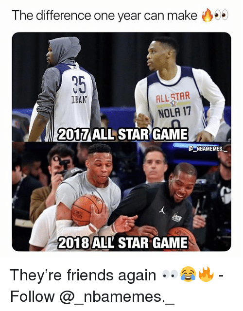 All Star Game: The difference one year can make  35  DIRAN  ALL STAR  NOLA 17  2017 ALL STAR GAME  @ーNBAME MES.-  2018 ALL STAR GAME They're friends again 👀😂🔥 - Follow @_nbamemes._
