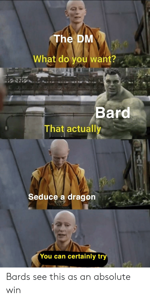The DM What Do You Want? Bard That Actually Seduce a Dragon You Can