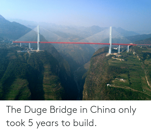 China, Bridge, and Build: The Duge Bridge in China only took 5 years to build.