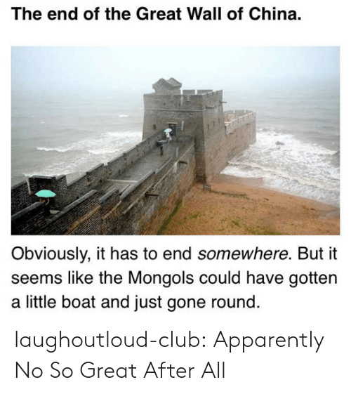the-great-wall: The end of the Great Wall of China.  Obviously, it has to end somewhere. But it  seems like the Mongols could have gottern  a little boat and just gone round laughoutloud-club:  Apparently No So Great After All