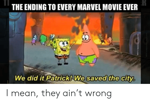 the city: THE ENDING TO EVERY MARVEL MOVIE EVER  We did it Patrick! We saved the city.  MANNc YOM  VIA FUNNYPIcsONLY.COM I mean, they ain't wrong