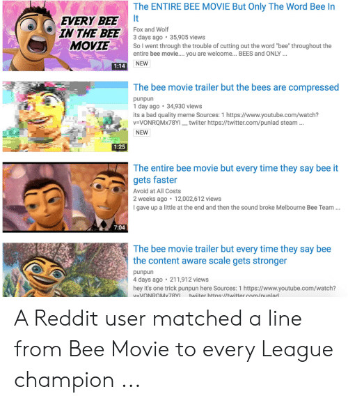 The ENTIRE BEE MOVIE but Only the Word Bee in It EVERY BEE