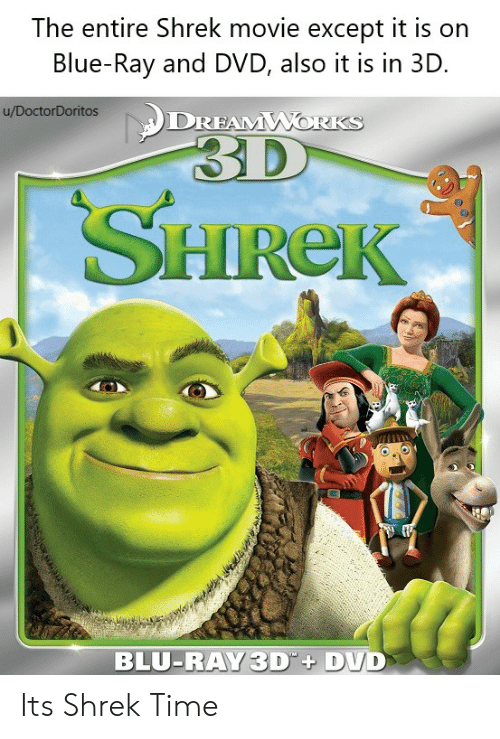 The Entire Shrek Movie Except It Is on Blue-Ray and DVD Also It Is