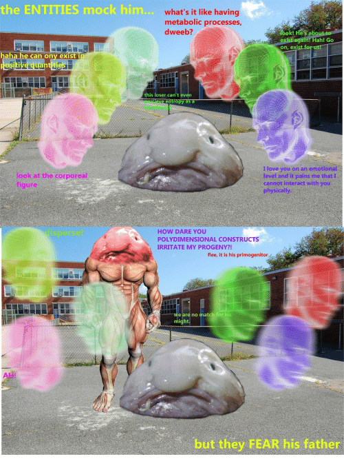 irritate: the ENTITIES mock him... what's it like having  metabolic processes  dweeb?  exist again! Hahl Go  on, exist fa  e can ony exist  his loser can't even  tropy as a  look at the corporeal  figure  I love you on an emotional  level and it pains me that I  cannot interact with you  physically  HOW DARE YOU  POLYDIMENSIONAL CONSTRUCTS  IRRITATE MY PROGENY?!  flee, it is his primogenitor  e are no ma  ch for hi  ig  ht  AH!  but they FEAR his father