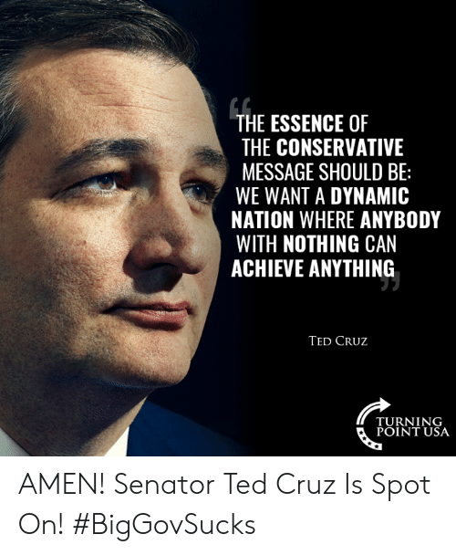 Memes, Ted, and Ted Cruz: THE ESSENCE OF  THE CONSERVATIVE  MESSAGE SHOULD BE:  WE WANT A DYNAMIC  NATION WHERE ANYBODY  WITH NOTHING CAN  ACHIEVE ANYTHING  TED CRUz  TURNING  POINT USA AMEN! Senator Ted Cruz Is Spot On! #BigGovSucks