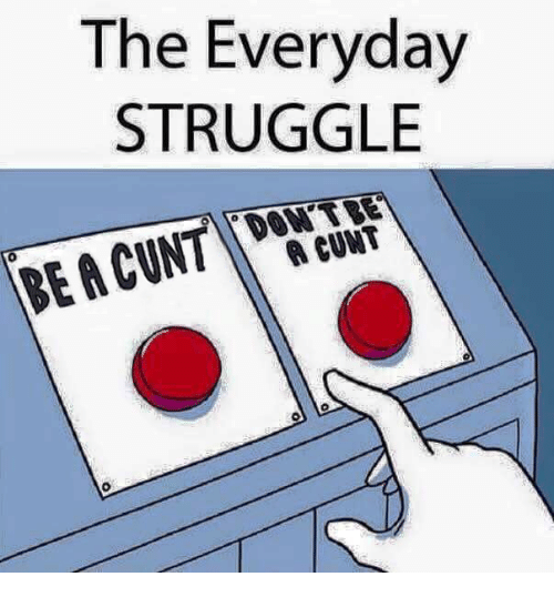 Memes, Struggle, and Cunt: The Everyday  STRUGGLE  A CUNT  0
