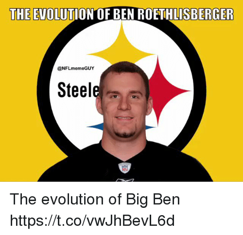 Ben Roethlisberger, Football, and Nfl: THE EVOLUTION OF BEN ROETHLISBERGER  @NFLmemeGUY  Steel The evolution of Big Ben https://t.co/vwJhBevL6d