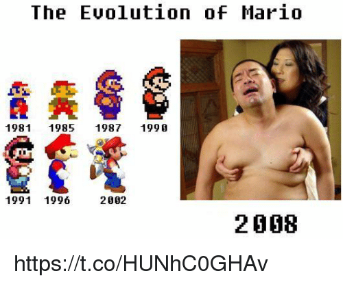 Mario, Evolution, and The: The Evolution of Mario  1981 1985 1987 1990  1991 1996  2002  2008 https://t.co/HUNhC0GHAv