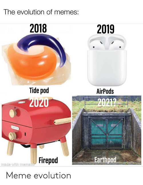 Memes 2018: The evolution of memes:  2018  2019  Tide pod  AirPods  20212  2020  OOLEE  Earthpod  Firepod  made with mematic Meme evolution