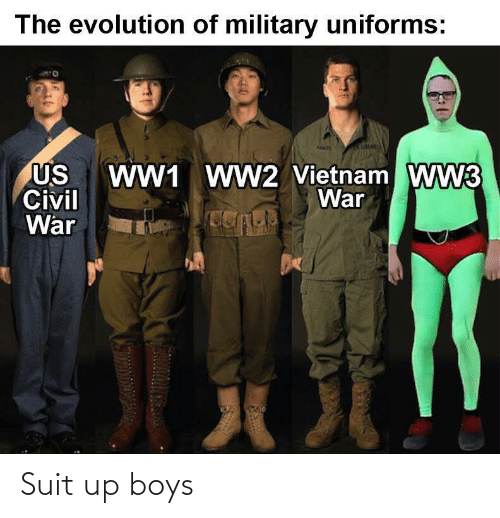 ww2: The evolution of military uniforms:  WW1 WW2 Vietnam WW3  War  US  Civil  War Suit up boys