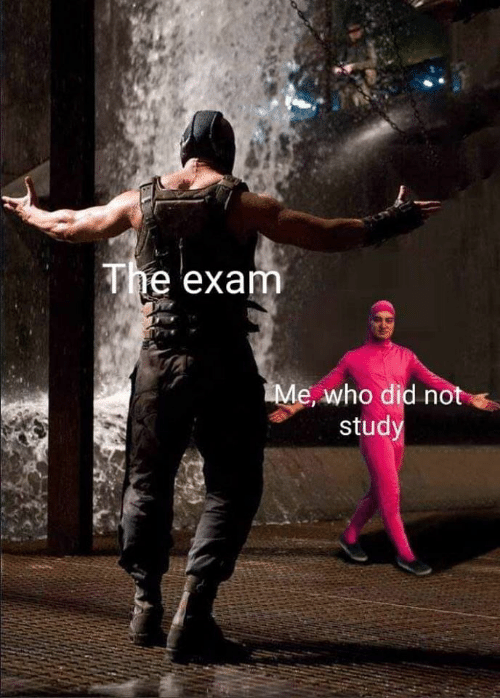 Who, Did, and Study: The exam  Me, who did not  study